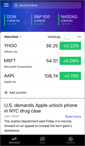 Image of the Yahoo Finance app for iOS.
