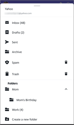 Image of folders in the Yahoo Mail app