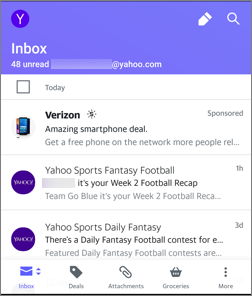 Image of views in the Yahoo Mail app