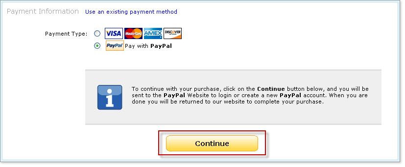 Yahoo Wallet - Pay With PayPal Continue Button