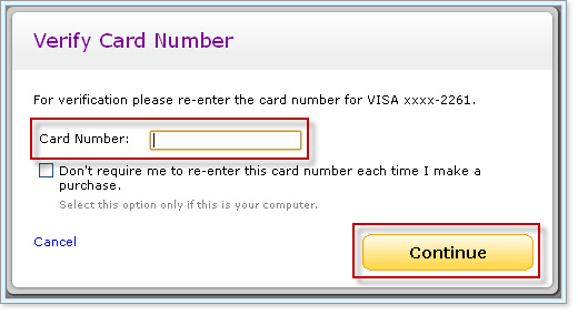 Yahoo Wallet - Verify Card Number Dialog Box