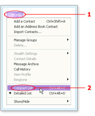 Choosing Compact List from the Contacts menu